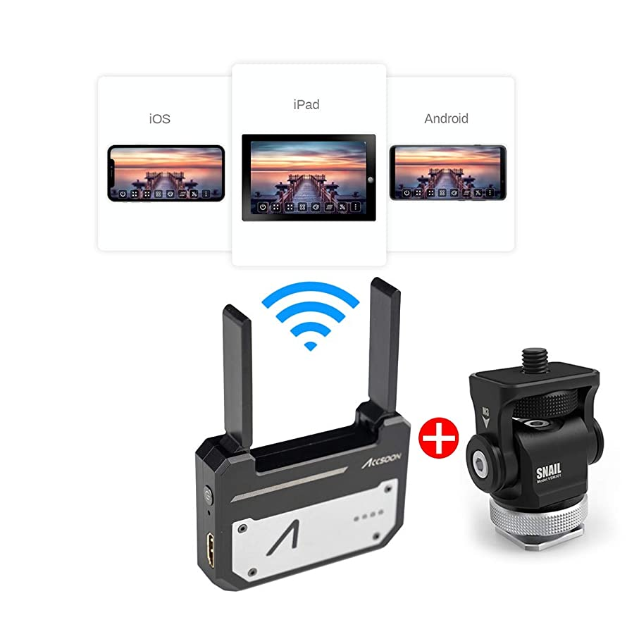 5G Wireless Image Transmission for Camera Photographing Minotor 1080p WiFi HDMI Transmitter, 4 Devices in a Distance of 100m, Support Android & iOS, Garyscale, RGB, False Color, 3D LUT Loading