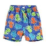 LACOFIA Pantaloncini da Bagno per Bambino Costume da Bagno da Spiaggia Elasticizzato in Vita da Bambini Blu 4 Anni