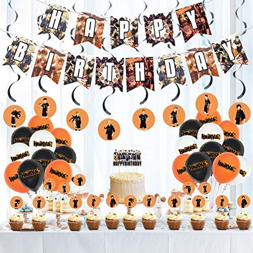 Haikyuu Party Dekorationen - Anime begünstigt Lieferungen für Wohnheim Cartoon Dekor, 1 Banner, 1 Big Cake Topper, 16 Cupcake Topper, 8 Spulen, 24 Luftballons für Fans Jungen Mädchen