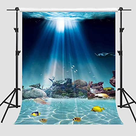 8x8FT Vinyl Wall Photography Backdrop,Underwater,Plants with Sun Rays Background for Baby Shower Bridal Wedding Studio Photography Pictures