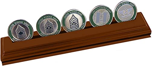 DECOMIL Military Collectible Challenge Coin Holder, Medium 1 Rows, Walnut