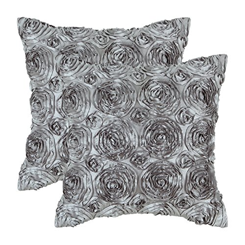 CaliTime Pack of 2 Cushion Covers Throw Pillow Cases Shells for Couch Sofa Home Solid Stereo Roses Floral 20 X 20 Inches Gray