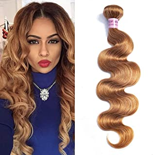 Aigemei Peruvian Virgin Hair Body Wave Honey Blonde 1 Bundle 100% Unprocessed Body Wavy Human Hair Extensions(24 Inch,Honey Blonde Color 27)