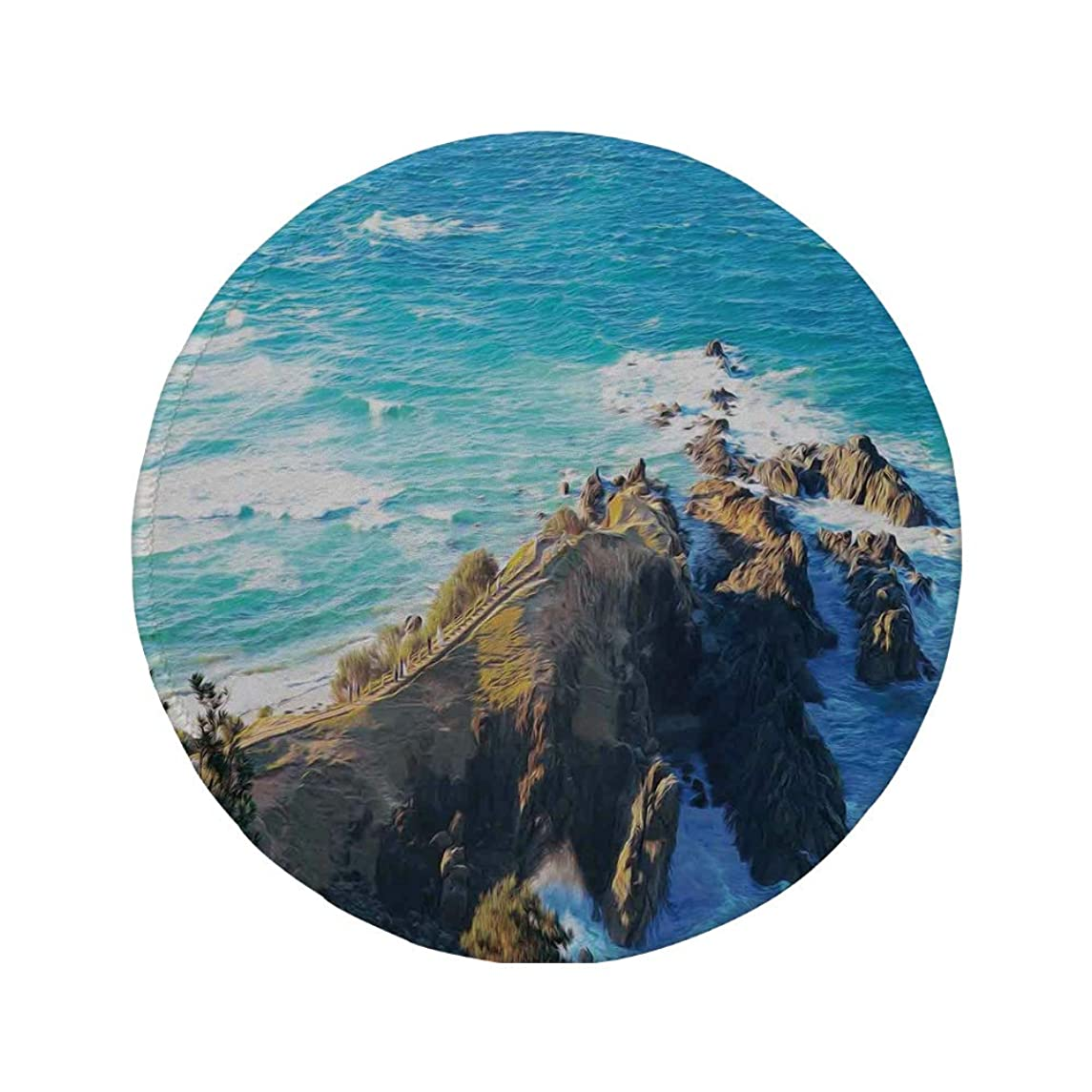 Non-Slip Rubber Round Mouse Pad,Country Decor,Aerial View of Australien Cliffs by The Sea with Waves Scary High Destination of Nature,Navy Brown,11.8
