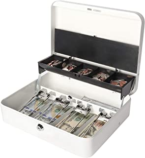 Jssmst Locking Large Metal Cash Box with Money Tray, Money Box with Key Lock, White, SM-CB0504L