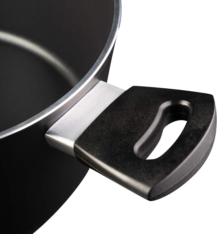 Masterchef 525508 Cacerola Apto para Todo Tipo de cocinas Incl Revestimiento Antiadherente Asas ergon/ómicas inducci/ón Aluminum Tapa de Cristal