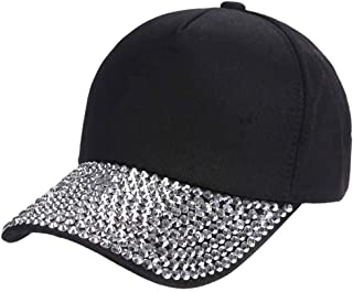 0ccba1930 CHUANGLI Women Men Adjustable Baseball Cap Plain Sparkle Rhinestone Brim  Studs Sun Hat Lover Denim Cap