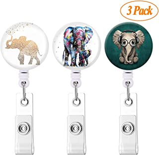 Badge Reel Retractable Badge Holder Carabiner with Alligator Clip On ID Card Holders (elephant-3pack)