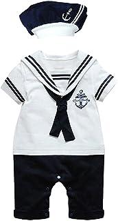 Le SSara Le SSara Baby-jungen Kurzarm Strampler Marine Anker Autokindersitzen Overalls 12-18 Monate, weiß