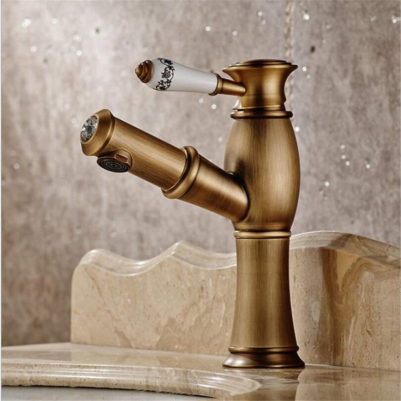 Badwaschtischarmaturenausziehbare Rmische Single-Loch-Becken Wasserhahn Spüle Heien Und Kalten Wasserhahn Bad Wasserhahn