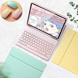 バックライト付き iPad Air4 10.9インチ キーボード ケース ワイヤレス マウス 3点セット 可愛い Apple Pencil 収納 キャンディー色 女性人気 アイパッドエア4 10.9 インチ 分離式 カラーキーボード iPadA...