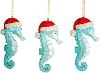 Blue Glitter Seahorse Hanging Christmas Ornament 4 1/4 Inch (Set of 3)