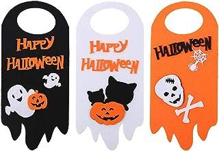 NICROLANDEE Halloween Door Hangers Happy Halloween Cute Door Banner Sign Sturdy Non-Woven for Halloween Collection Kids Party Supplies(3PCS)