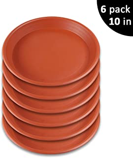 GROWNEER 6-Pack 10 Inch Plant Saucer Drip Trays, Round Plastic Plant Pot Saucers Flower Pot Set for Indoor Outdoor Garden, Clay Color