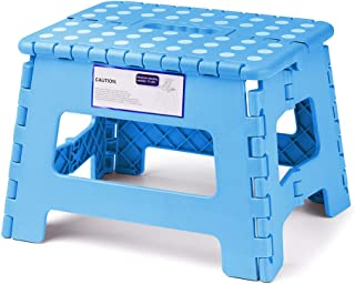 ACSTEP Acko Folding Step Stool Lightweight Plastic Step Stool,9 inch Foldable Step Stool for Kids,Non Slip Folding Stools for Kitchen Bathroom Bedroom (Blue)