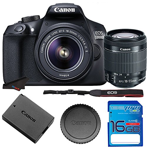 Canon EOS 1300D / T6 EF-S 18-55mm 18.7MP CMOS 5184 x 3456 Pixels (Black) + 16GB SD Card
