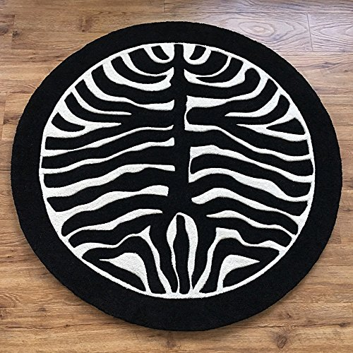 Black And White Zebra Pattern Round Rug