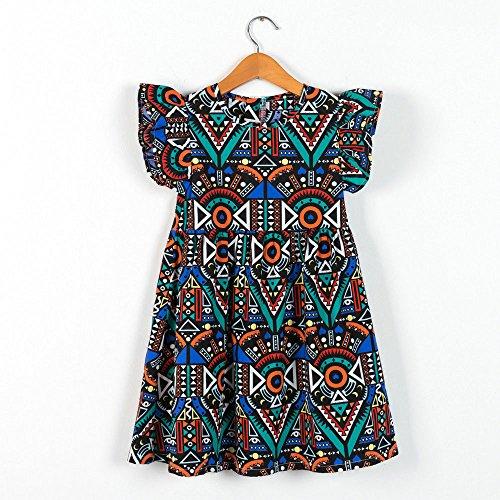 Falda de Vestir con Estampado geométrico de Flores sin Mangas con Mangas voladoras para niñas y niños