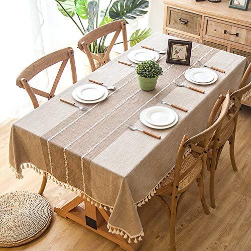 Wondder Mantel Cordón de la Borla del Paño de Tabla del Lino del Algodón para la Cubierta de Tabla de Cena del Banquete del Partido del Mantel de la Tabla (140x180cm(55x70.8inch), Caqui)