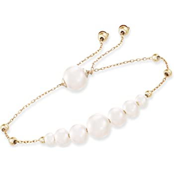 Ross-Simons 4-9.5mm Cultured Pearl Bolo Bracelet in 14kt Yellow Gold