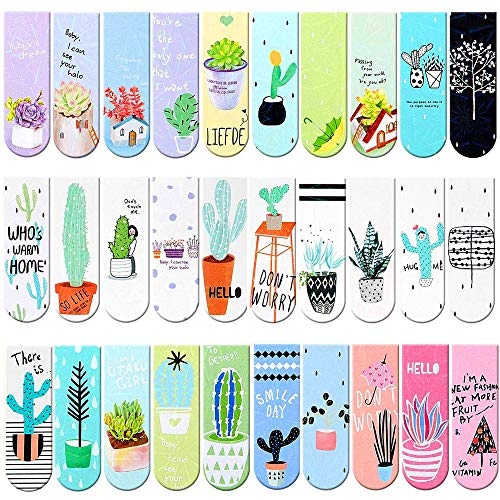 Magnetic Bookmarks 30 Pieces Cute Magnet Page Markers Kawaii Magnet Page Clips Creative Bookmark for Student Kids Boys Girls Women Men Reading Stationery Office Accessories
