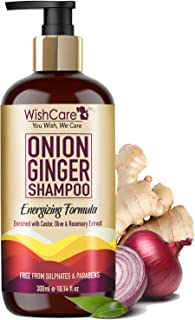 WishCare® Onion Ginger Shampoo - Onion Shampoo For Hair Fall Control - Energizing Formula - Free from Mineral Oils, Sulpha...