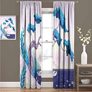 GUUVOR Coastal Blackout Curtain Fantastic Landscape Bonsai Tree Sea Water Lilies Daisies and Boat Marine 2 Panel Sets Curtain 72