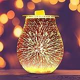 EASONGEE Lámpara Eléctrica de Aromaterapia 3D Aromatherapy Difuser Difusor de Cera Melt Calentador de Cristal Lámpara de Vela para El Dormitorio de La Oficina en El Hogar