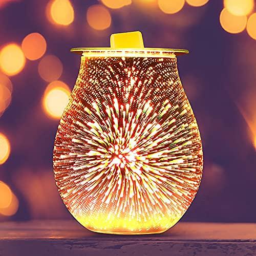 EASONGEE Lámpara Eléctrica de Aromaterapia 3D Aromatherapy Difuser Difusor de Cera Melt...