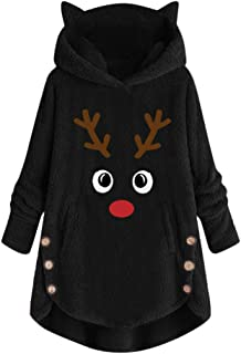 Womens Fleece Button Coat Tops, Plus Size Loose Winter Solid Fluffy Sweater Hooded Pullover Outwear