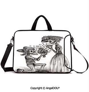 AngelDOU Notebook Bag for School Laptop Sleeve Messenger Bags Mariage Proposal Till Life do us Apart Dead Day Festive Print PC Cover case Compatible with mac pro/asus/acer/hp/xiaomi Dimgrey and WHI
