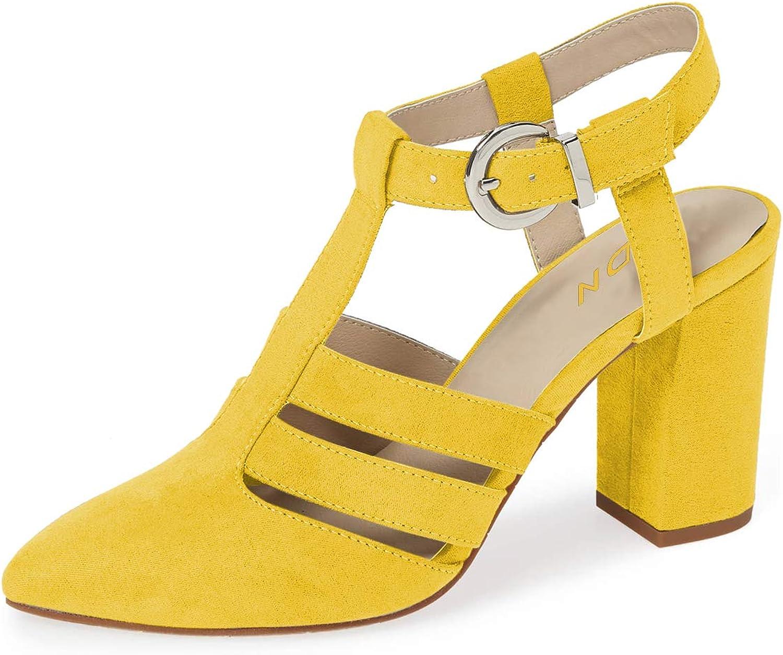 YDN kvinnor mode Point Toe Chunky Chunky Chunky hög klack Sandaler Ankle remmar Pumpar 14 gul skor  högkvalitativa varor och bekväm, ärlig service