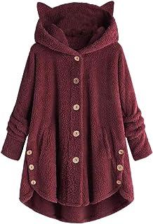 Discountstore145 - Abrigos para mujer, color sólido, manga larga, forro polar sintético, diseño de orejas de gato, con cap...