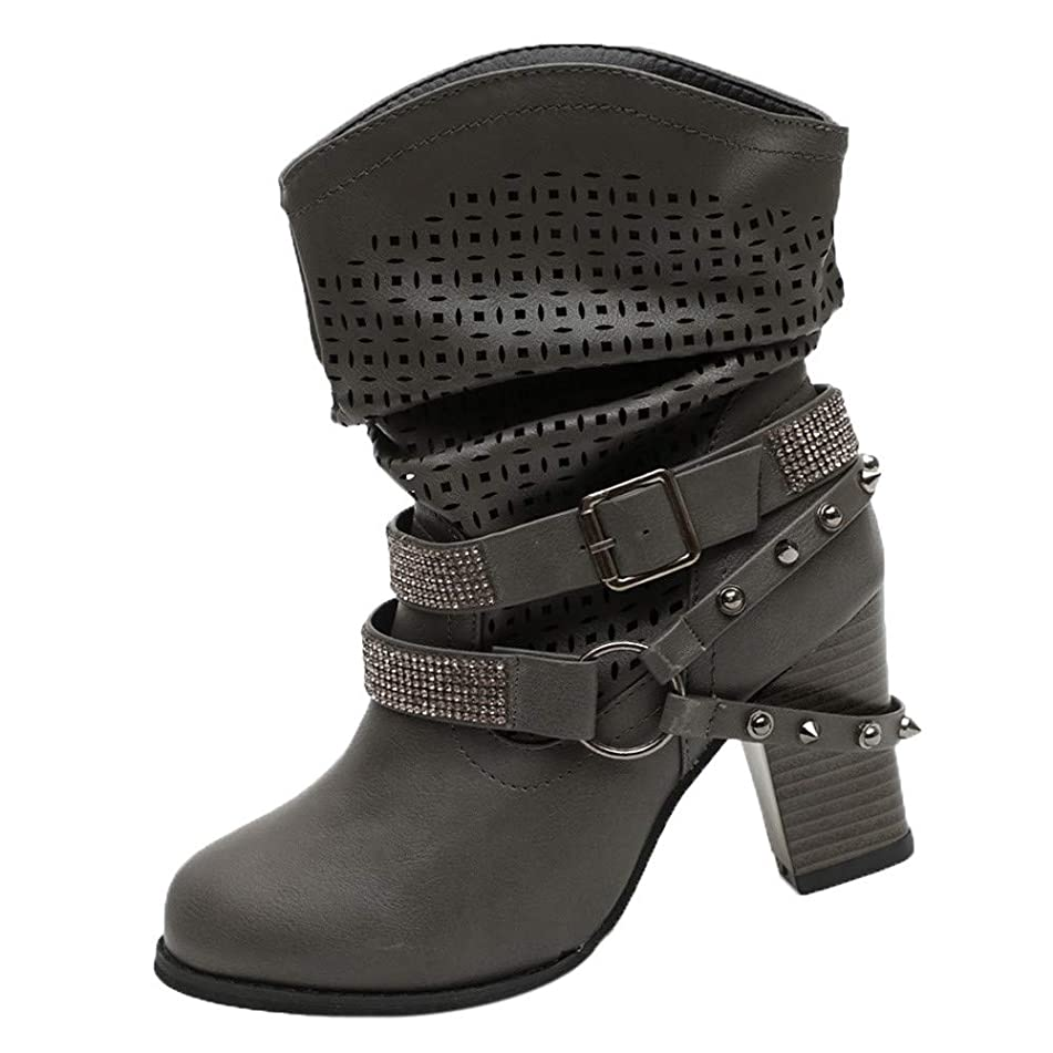 Londony ?? Clearance Sales,Women's Hollow Out Fashion Slip On Motorcycle Boots Lace Up Mid Calf Buckle Booties
