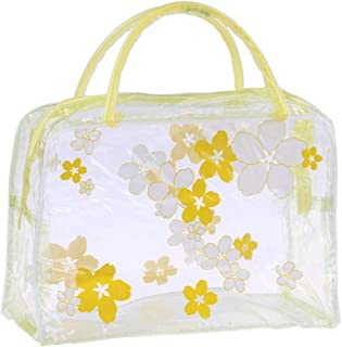 Clear Zipper Cosmetic Bags Flower PVC Waterproof Bag Portable Plastic Travel Toiletry Organizer with Handle Yellow