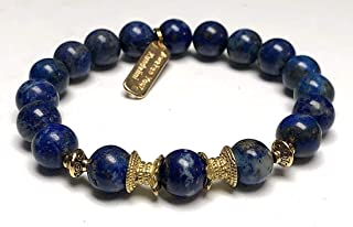 Stunning lapis lazuli bracelet   Yoga Jewelry wrist mala   Fifth chakra Throat Chakra   Big 10 mm unisex stretch bracelet   Energized chakra bracelet   w/zinc alloy gold plated spacers   US Seller
