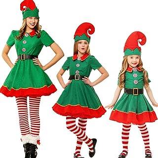 129679929866f Costumes de Noël Costume de Lutin de Noël Enfant Cosplay Vêtement  Déguisement Parent-Enfant Adulte