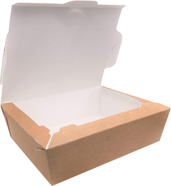 Paquete de 50 fiambreras de papel kraft para comida rápida de 1000 ml, biodegradables, ecológicas reciclables (50, 1000 ml)