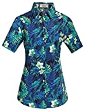 SSLR Camisa Hawaiana Aloha Mujer Manga Corta Blusa Casual Estampada Jungla (XXX-Large, Azul)