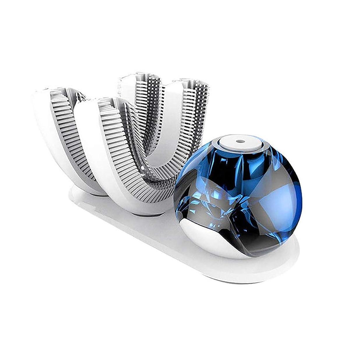 推定する未亡人資格情報全自動電気サブブラシ、U型LED歯のホワイトニングアクセラレータ無料あなたの手の自動クリーニングタイミング歯IPX7の防水食品グレードシリコンブラシヘッド
