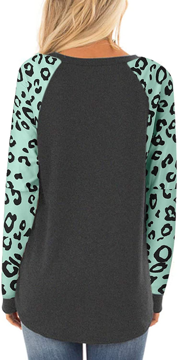 YSLMNOR Long Sleeve Tops for Womens Leopard Patchwork T Shirt Fashion Round Neck Pullover Fall Casual Blouse
