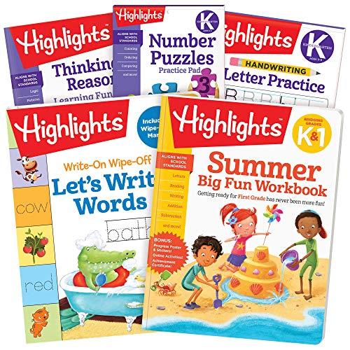 Highlights Summer Learning Pack Kindergarten to First Grade, Workbooks, Handwriting Practice, Thinking Skills
