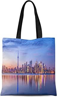 Semtomn Canvas Tote Bag Colorful Night Toronto Skyline Purple Light Ontario Canada Landscape Durable Reusable Shopping Shoulder Grocery Bag