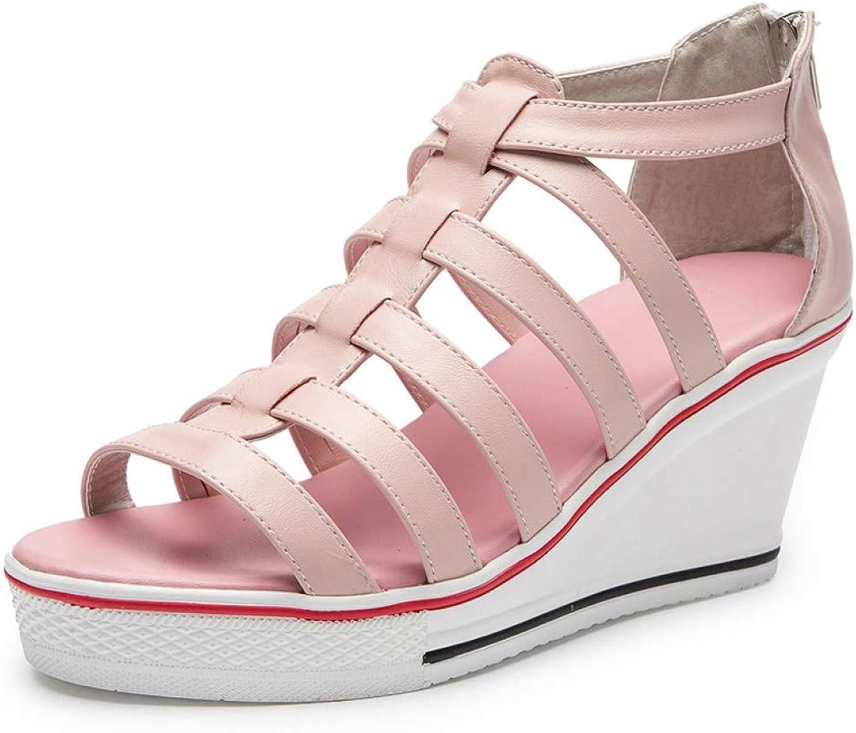 MEIZOKEN Women's Hollow Out Wedge Sandals Peep Toe High-Heeled Fashion Canvas High Pump Zipper Sneaker