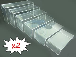 Clear Acrylic 6 Layer Display Stand Riser, Pack of 2 sets, Ideal for Jewelry Hobby Collectible Product