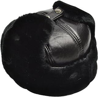Yosang Trapper Hat Winter Hunter Ushanka Ear Flaps Sport Leather Black Hat