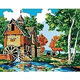 Bhgfdlbf Pintar por Numeros Adultos Niños Principiantes Kits de Pintar Acrílica ,DIY Pintura Al Óleo ,Decoración del Hogar,Granja Junto Al Lago 40 X 50 Cm Sin Marco