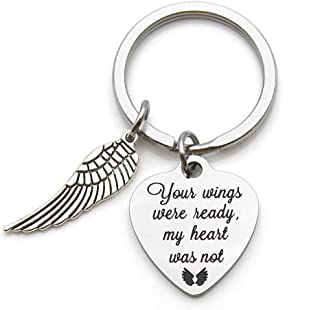 Memorial Jewelry Your Wings were Ready My Heart was Not Heart Keychain Memorial Gift Miscarriage Remembrance Gift