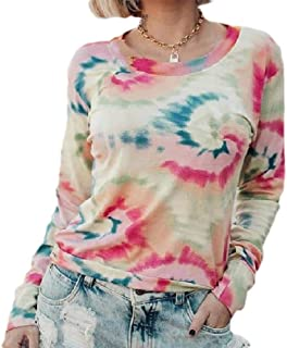 HEFASDM Womens Tie Dye Round Neck Blouse Fall Winter Lounge Tee Shirt