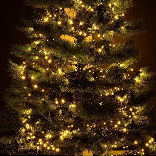 gresonic-Led-Cluster-20m lang-Lichterkette-Strombetrieb Deko für Innen Außen Garten Weihnachtsbaum Hochzeit (Warmweiss Dauerlicht, 1000LED)